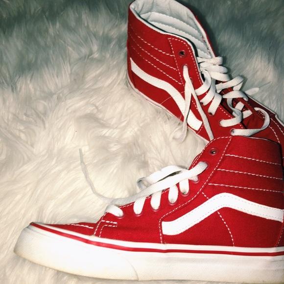Vans Shoes | Red High Top Old Skool